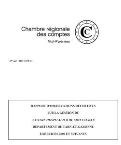 Hopital Montauban rapport chambre regionale des comptes